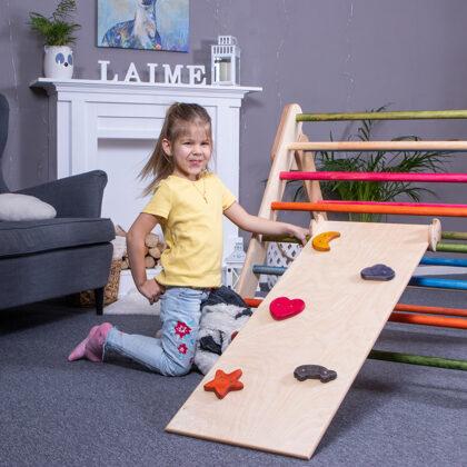 Salokāms koka pikleres trijstūris ar slidkalniņu montessori rotaļlieta wooden pikler trian