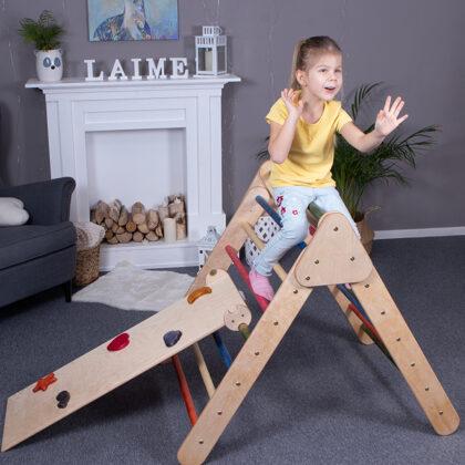 Salokāms koka pikler trijstūris ar slidkalniņu montessori rotaļlieta