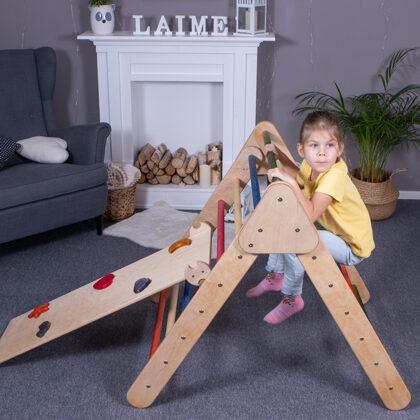 Salokāms koka pikler trijstūris ar slidkalniņu montessori rotaļlieta wooden pikler trian