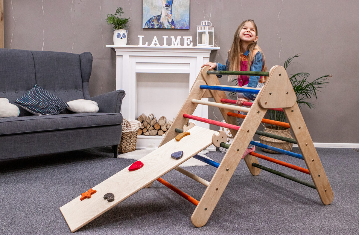 wooden fldable pikler triangle pikler trijstūris koka rotaļlieta